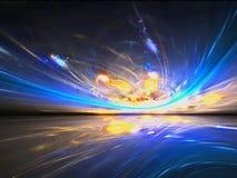 Mystisk främmande solnedgångsikt i den fantastiska världen Arkivbilder
