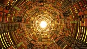 Mystisk guld- scifi-tunnel med ljus på illustrationen för slut 3d Arkivfoton