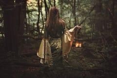 Mystisk kvinna i felik skog arkivfoton