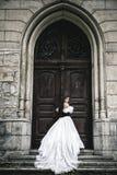 Mystisk kvinna i viktoriansk klänning Arkivfoton