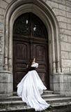 Mystisk kvinna i viktoriansk klänning Royaltyfri Foto