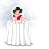 mystisk lady stock illustrationer