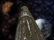 Mystisk pelare med stjärnor och planeter Royaltyfri Foto