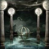 Mystisk sfär med armillary och månekolonner 2 Arkivbild