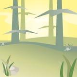 Mystisk skog mycket av trees stock illustrationer