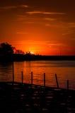Mystisk solnedgångfjärd Royaltyfri Bild