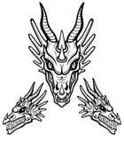 Mystisk teckning: animeringhuvud av en drake Frontal och profilsikt royaltyfri illustrationer