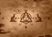 Mystisk teckning: det tredje ögat som all-ser ögat, cirkel av en månefas Sakral geometri och egyptiska katter Bastet forntida Egy stock illustrationer