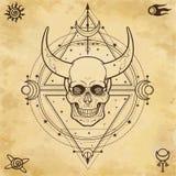 Mystisk teckning: horned skalle, sakral geometri, utrymmesymboler royaltyfri illustrationer