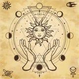 Mystisk teckning: mänskliga händer rymmer solen Cirkel av en fas av månen vektor illustrationer