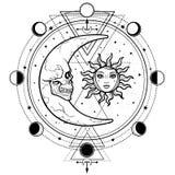 Mystisk teckning: sol och måne med mänskliga framsidor, cirkel av en fas av månen stock illustrationer