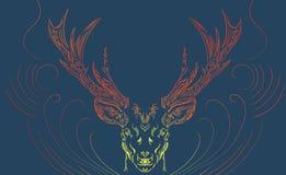 Mystiska bakgrundshjortar royaltyfri illustrationer