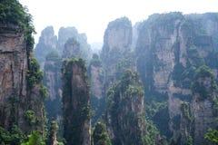 Mystiska berg Zhangjiajie, HUnan landskap i Kina Arkivbilder