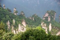 Mystiska berg Zhangjiajie, HUnan landskap i Kina Arkivbild