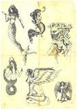 mystiska kvinnor vektor illustrationer