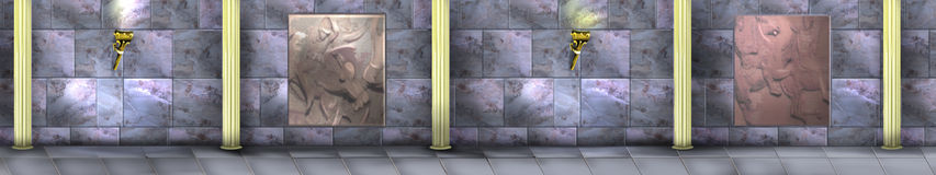 Mystiska och fantasimarmorväggar med kolonner Arkivbild