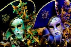 Mystiska venetian maskerar Fotografering för Bildbyråer