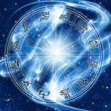 Mystiskt magiskt zodiakhjul med stjärnor och universum som astrologibegrepp vektor illustrationer