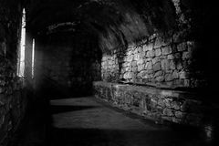 Mystiskt svartvitt rum arkivfoto