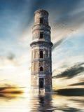 Mystiskt torn ovanför vattenyttersidan arkivbild