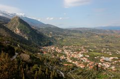 Mystras Castle, and Taygetus mountain Royalty Free Stock Photos