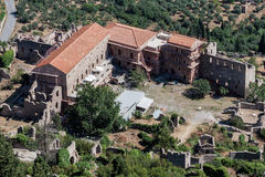 Mystras Convent Greece. The ruins of a byzantine convent from the top of Mount Taygetos and , Mystras, Peloponnese, Greece Royalty Free Stock Image