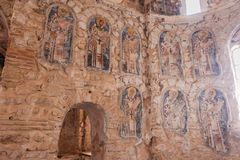 Mystras Frescoes Byzantine Church Stock Photos