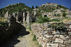 Mystras Landscape. Mystras is a fortified town situated on Mt. Taygetos, near ancient Sparta, it served as the capital of the Byzantine Despotate of the Morea in Stock Photos