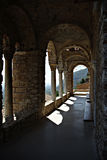 Mystras Landscape. Mystras is a fortified town situated on Mt. Taygetos, near ancient Sparta, it served as the capital of the Byzantine Despotate of the Morea in Stock Images