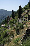 Mystras Landscape. Mystras is a fortified town situated on Mt. Taygetos, near ancient Sparta, it served as the capital of the Byzantine Despotate of the Morea in Royalty Free Stock Photography