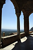 Mystras Landscape. Mystras is a fortified town situated on Mt. Taygetos, near ancient Sparta, it served as the capital of the Byzantine Despotate of the Morea in Stock Photo