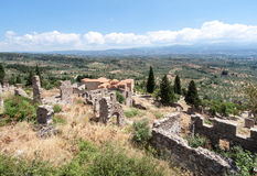 Mystras Landscape. The landscape from the top of Mount Taygetos and the ruins of a convent, Mystras, Peloponnese, Greece Royalty Free Stock Photo