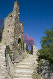 Mystras ruins - Greece. Stone stair of medieval fortified town of Mystras. Laconia Prefecture - Greece - UNESCO World Heritage Site Stock Photos