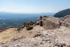 Mystras slott Arkivfoto