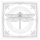 Mystyc dragonfly illustration Royalty Free Stock Images