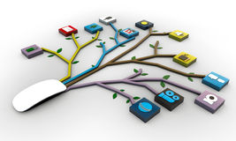 Mysz łącząca z zastosowań icones Fotografia Stock