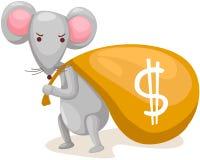 mysz niesie torbę z pieniądze ilustracja wektor