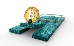 Mysz oklepiec z bitcoin jak popas odizolowywającego ilustracji
