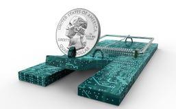 Mysz oklepiec z dolar monetą jak popas odizolowywającego ilustracji