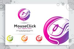 Myszy stuknięcia wektorowy logo z nowożytnym i kolorowym stylowym pojęciem, kreatywnie myszy ilustracja jako symbol ikony firmy n royalty ilustracja