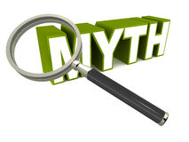 Myth. Checking out a myth in detail, lens or magnifying glass over text in green, white background, concept of inspecting busting a myth or validating the truth Royalty Free Stock Images
