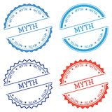 Myth badge isolated on white background. Flat style round label with text. Circular emblem vector illustration Royalty Free Stock Photography