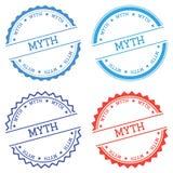 Myth badge isolated on white background. Flat style round label with text. Circular emblem vector illustration Royalty Free Illustration