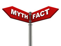 Myth or fact. Myth one way and fact the other, on red street sign mounted on a chrome pillar, against white background Royalty Free Stock Photos