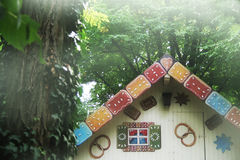 Myth forest. Myth of hansel and gretel with gingerbread house Royalty Free Stock Images