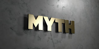 Myth - Gold sign mounted on glossy marble wall  - 3D rendered royalty free stock illustration. This image can be used for an online website banner ad or a Stock Photos