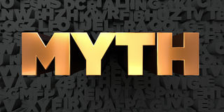 Myth - Gold text on black background - 3D rendered royalty free stock picture Royalty Free Stock Images