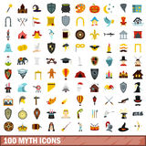 100 myth icons set, flat style Stock Photo