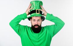 Myth of leprechaun. Happy patricks day. Global celebration of irish culture. Man bearded hipster wear green clothing and. Hat patricks day. Saint patricks day stock photo
