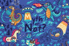 Myth or not. Vector print with fantastic creatures Royalty Free Stock Photography